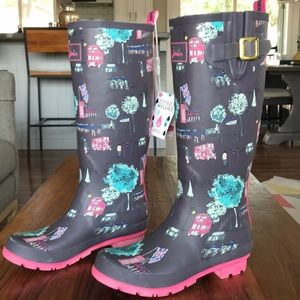 Joules London Bus Wellies Rain Boots US 7